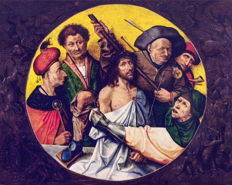 Das seinerzeit von Giselher Wirsing besprochene, inzwischen aber auf Grundlage einer dendrochronologischen Analyse einem Nachfolger von Hieronymus Bosch zugeschriebene Bild »Die Dornenkrönung Christi«, 1530er Jahre, Öl auf Eichenholz, 165cm×195cm; Monasterio de San Lorenzo, El Escorial